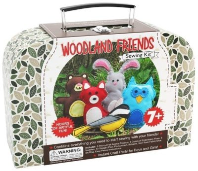 This is an image of girl's sewing kits animals craft