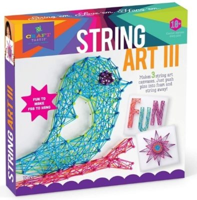 This is an image of girl's string art kit in colorful colors