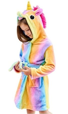This is an image of girl's unicorn with hood and use for bath and sleepwear in multi colors