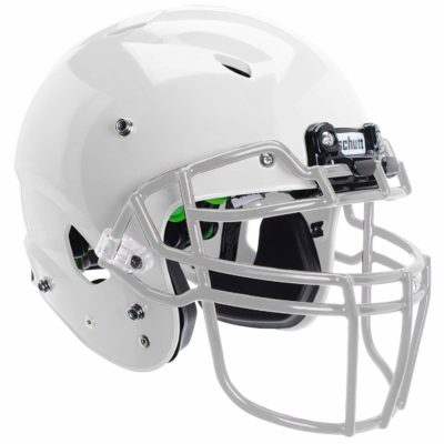 This is an image of a white Schutt youth football helmet.