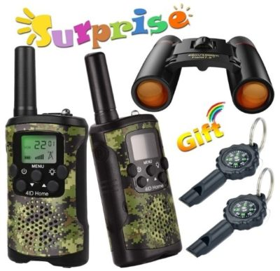 This is an image of boys walkie talkies in green and black camoflage colors