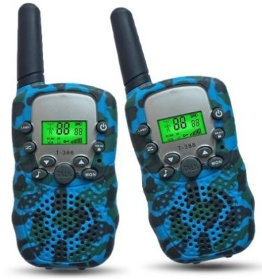 This is an image of boy's walkie talkies in blue camoflage color