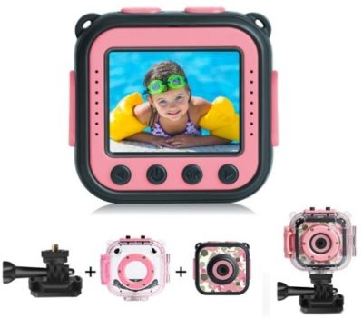 This is an image of girl's waterproof action camera in pink color