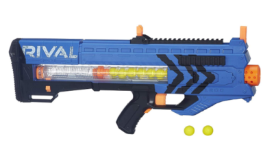 This is an image of a blue Zeus Nerf toy gun.