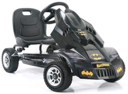 This is an image of boys batmobile pedal go kart in black color