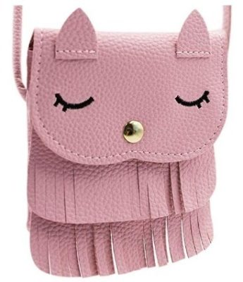 This is an image of girl's cat tassle crossdy bag in pink color