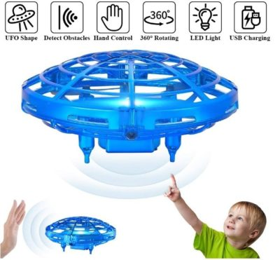 This is an image of kid's helicopter drone with lights in blue color