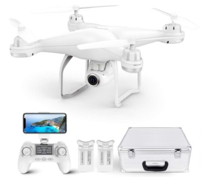 This is an image of kid's white drone with gps and 1080P camera