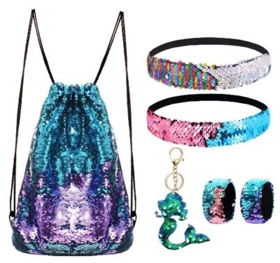 This is an image of girl's mermaid bag with accessories in colorful colors