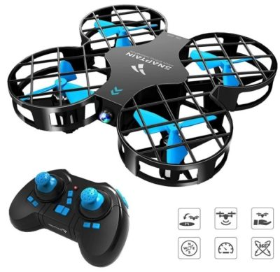 This is an image of kid's mini drone quadcopter in blue and black colors