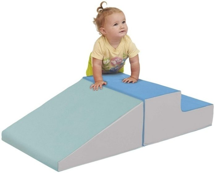 This is an image of toddler's climb with slide in blue and gray colors
