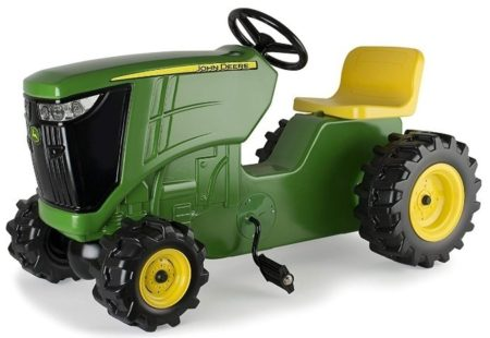 This is an image of kid's tractor ride on by john deere in green and yellow colors