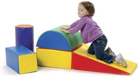 This is an image of toddler's climbing and sliding toys in colorful colors