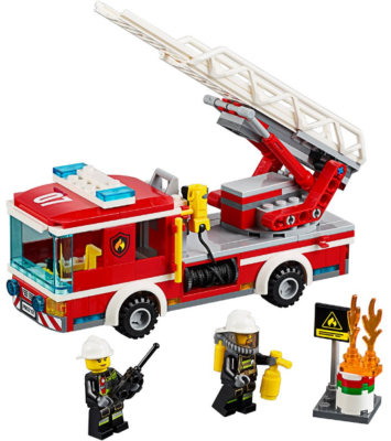 this is an image of boy's lego city fire ladder truck in red color