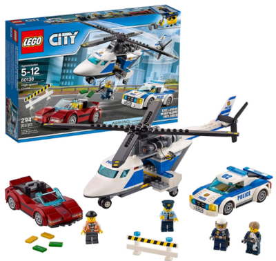 this is an image of boy's lego police helicopter in white and bleu colors