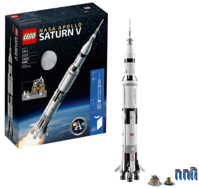 this is an image of boy's lego outer space model rocket in white color