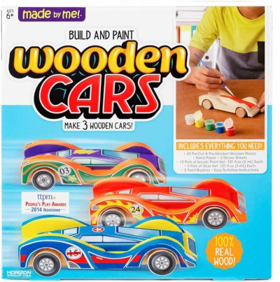 This is an image of Made By Me Build & Paint Your Own Wooden Cars by Horizon Group USA,