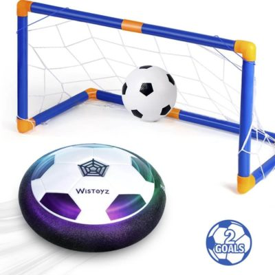 This is an image of WisToyz Kids Toys Hover Soccer Ball Set with 2 Goals, Air Soccer with Led Light, Excellent Time Killer for Boys/Girls,