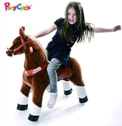This is an image of Smart Gear Pony Cycle Chocolate, Light Brown, or Brown Horse Riding Toy