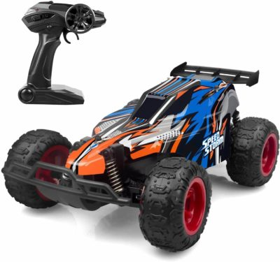 This is an image of JEYPOD Remote Control Car, 2.4 GHZ High Speed Racing Car with 4 Batteries