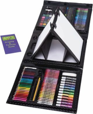 This is an image of Art 101 Kids 179-Piece Double Sided Trifold Easel Art Set