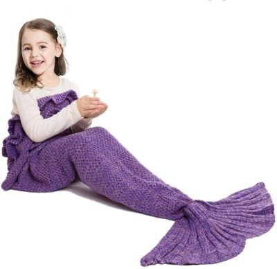 This is an image of WHITE Mermaid Tail Blanket for Kids Adult, Hand Crochet Snuggle Mermaid,