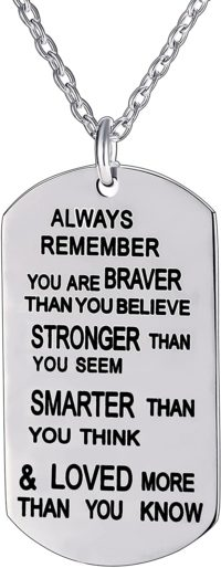 This is an image of lauhonmin Always Remember You are Braver/Stronger/Smarter Than You Think Pendant Necklace Family Friend Gift Unisex