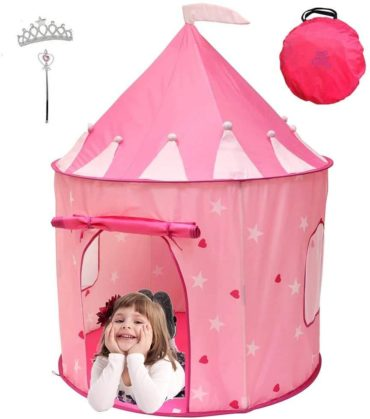 This is an image of Kiddey Princess Castle Play Tent (Pink) - with Glow in The Dark Stars – Indoor/Outdoor Playhouse for Girls,