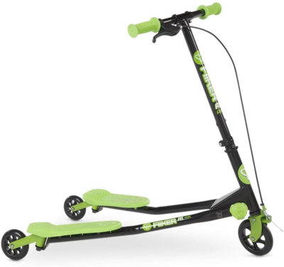 This is an image of Yvolution Y Fliker A1 Kids Scooter, Green
