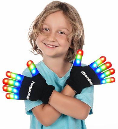 This is an image of The Noodley LED Gloves for Kids Cool Toys for Boys with Extra Batteries