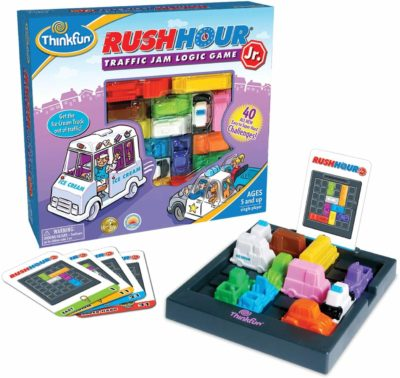 This is an image of ThinkFun Rush Hour Junior Traffic Jam Logic Game and STEM Toy for Boys