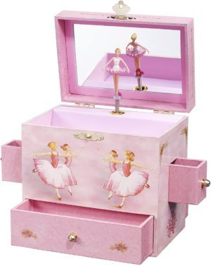 "This is an image of Enchantmints Ballerina Musical Jewelry Box, ""Swan Lake"" Ballerinas, 4 Drawers"