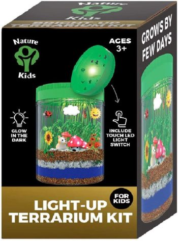 This is an image of Light-up Terrarium Kit for Kids LED Light on Lid - Science Kit for Kids