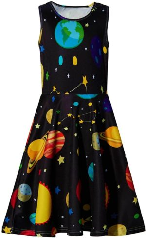 This is an image of BFUSTYLE Girl Print Dress, Sleeveless Casual Floral Sundress for Girls 4-13 Years