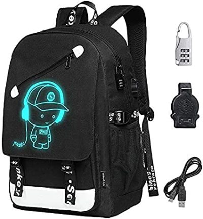 "This is an image of Unisex School Backpack 15.6"" Laptop Backpack Charging Port Anti-theft Rucksack"