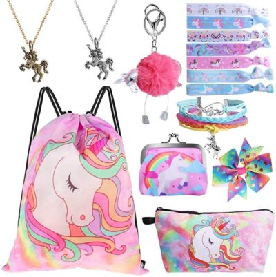 This is an image of Drawstring Bag for Unicorn Gift for Girl Include Necklace Bracelet Hair Tie