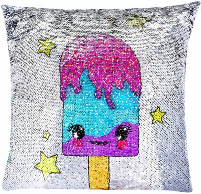 This is an image of GirlZone: Magical Reversible Sequin Pillow for Girls Bedroom Decor, Great Gift for Girls (Purple)