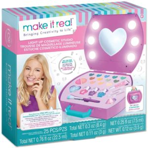 This is an image of Make It Real - Light-Up Cosmetic Kit - Kids Makeup Case with Mirror and Lights for Girls and Tweens